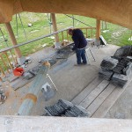 The arbour floor will soon be laid with slate also
