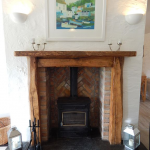 Woodburning stove in the living/dining room